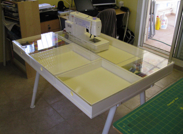 The Table Is Built On Height Adjustable Ikea Legs. The Top Is Made Like A  Box With Drawers And A Clear Plexiglas Top, Which Is Fitted Around The  Sewing ...